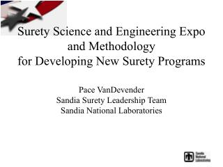 Surety Science and Engineering