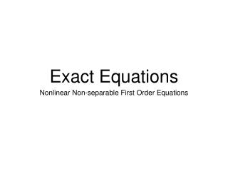 Exact Equations