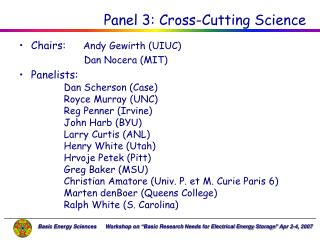 Panel 3: Cross-Cutting Science