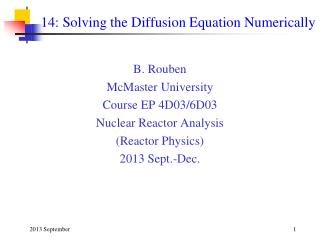 14: Solving the Diffusion Equation Numerically