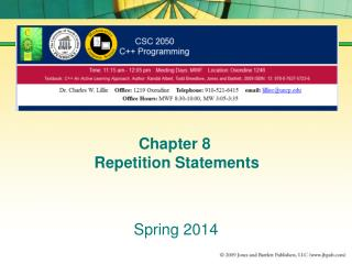 Chapter 8  Repetition Statements