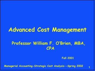 Advanced Cost Management