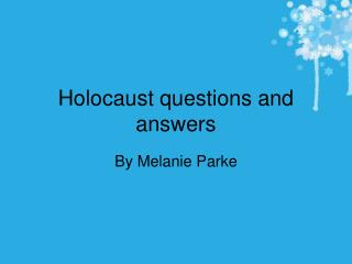 Holocaust questions and answers