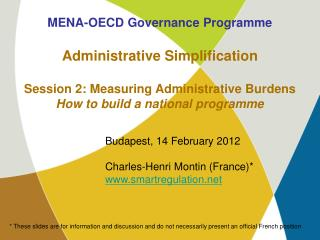 MENA-OECD Governance Programme Administrative Simplification
