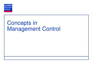 Concepts in  Management Control