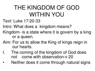 THE KINGDOM OF GOD WITHIN YOU