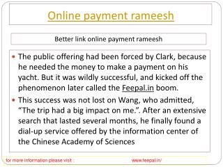 Useful information about online payment  rameesh