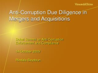 Anti-Corruption Due Diligence in  Mergers and Acquisitions