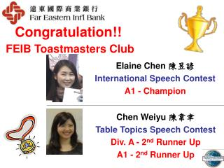 Congratulation!! FEIB Toastmasters Club