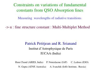 Constraints on variations of fundamental constants from QSO Absorption lines