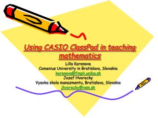 Using CASIO ClassPad in teaching mathematics