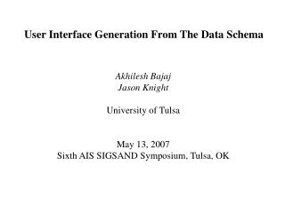 User Interface Generation From The Data Schema
