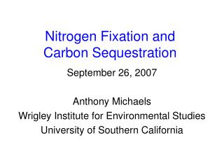 Nitrogen Fixation and  Carbon Sequestration