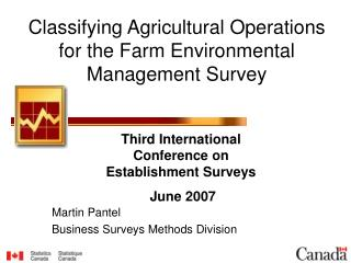 Classifying Agricultural Operations for the Farm Environmental Management Survey