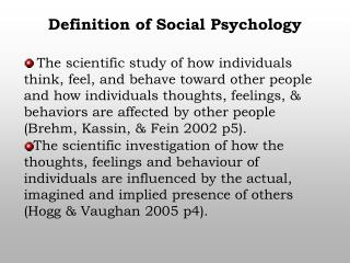 Definition of Social Psychology