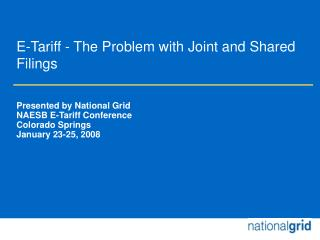 E-Tariff - The Problem with Joint and Shared Filings