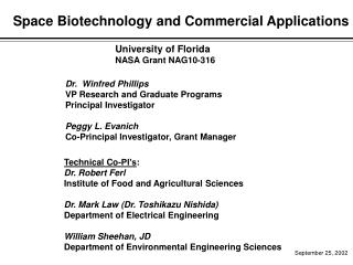 Space Biotechnology and Commercial Applications