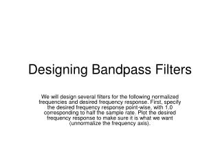 Designing Bandpass Filters