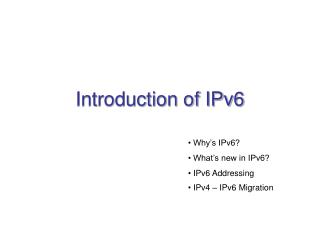 Introduction of IPv6