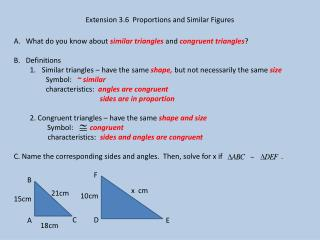 Extension 3.6  Proportions and Similar Figures