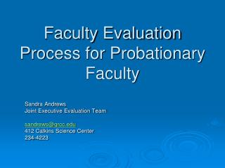 Faculty Evaluation Process for Probationary Faculty