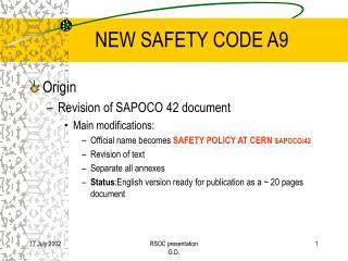 NEW SAFETY CODE A9