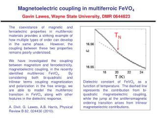 Magnetoelectric coupling in multiferroic FeVO 4 Gavin Lawes, Wayne State University, DMR 0644823