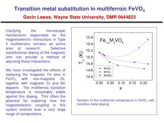Variation of the multiferroic temperature in FeVO 4  with transition metal doping.