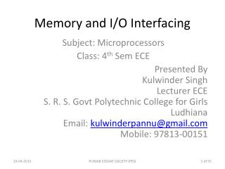 Memory and I/O Interfacing