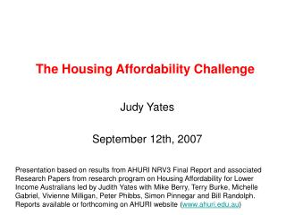 The Housing Affordability Challenge