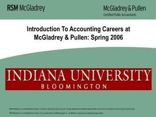 Introduction To Accounting Careers at McGladrey & Pullen: Spring 2006