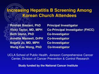 Increasing Hepatitis B Screening Among Korean Church Attendees