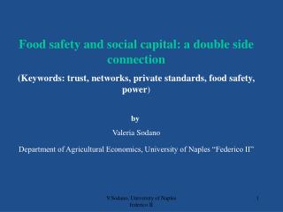 Food safety and social capital: a double side connection