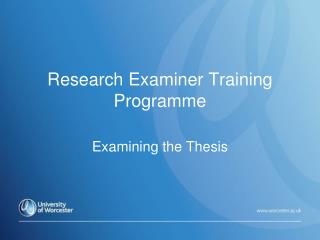 Research Examiner Training Programme