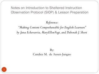 Notes on Introduction to Sheltered Instruction Observation Protocol (SIOP) & Lesson Preparation