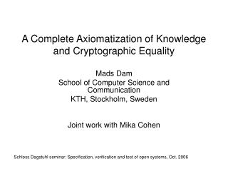 A Complete Axiomatization of Knowledge and Cryptographic Equality