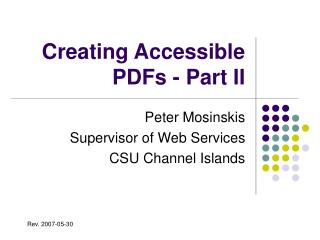 Creating Accessible PDFs - Part II
