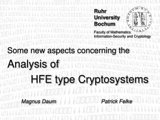 Some new aspects concerning the  Analysis of 	HFE type Cryptosystems