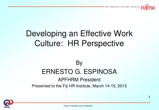 Developing an Effective Work Culture:  HR Perspective