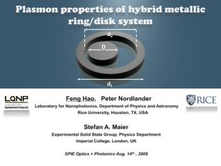 Plasmon  properties of hybrid metallic ring/disk  system