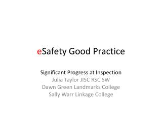 e Safety Good Practice