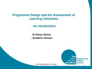 Programme Design and the Assessment of Learning Outcomes - an introduction