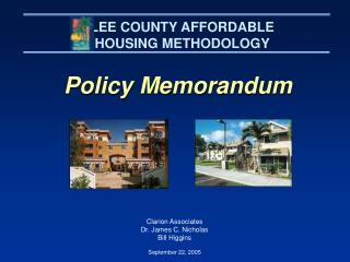 LEE COUNTY AFFORDABLE HOUSING METHODOLOGY