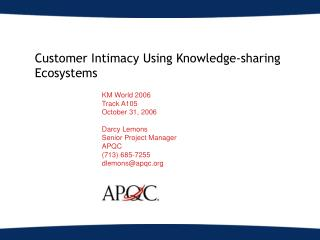 Customer Intimacy Using Knowledge-sharing Ecosystems