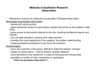 Methods of Qualitative Research: Observation