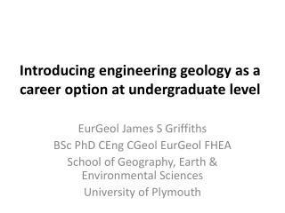 Introducing engineering geology as a career option at undergraduate level