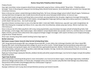 Review: Bung Hatta Pribadinya dalam Kenangan Prakata Penulis: