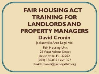 FAIR HOUSING  UNIT'S MISSION