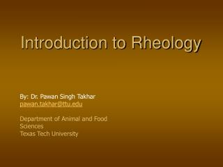 Introduction to Rheology