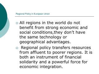 Regional Policy in European Union
